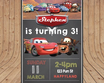 Personalised Disney Cars Birthday Party Invitation DIGITAL You Print