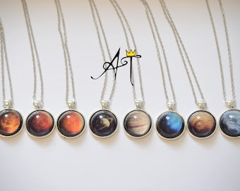 planet necklace, gift for her/him