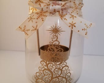 Mason Jar tealight holder, Christmas candle,