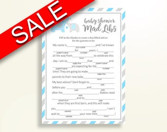Mad Libs Baby Shower Mad Libs Elephant Baby Shower Mad Libs Blue Gray Baby  Shower Elephant