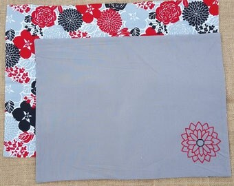 2 Red, Black, and Grey Flower Placemats - reversible - cotton - fabric - embroidered - hand made - flowers - dining room - dinner -