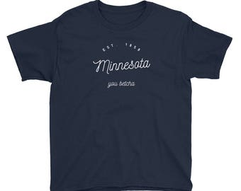 Minnesota - You Betcha, Est 1858 - Vintage MN Kids/Youth Short Sleeve T-Shirt