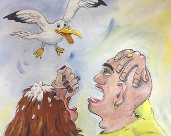 Original acrylic painting entitled 'Oi'.