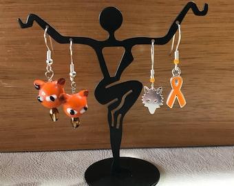 "Orange ""cause ribbon"" charm earrings"