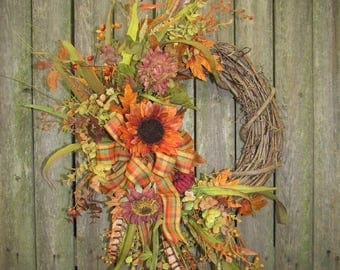 Ready to Ship Fall Silk Floral Crescent Wreath with Rust Sunflower, Eucalpyus and Feathers and Orange and Olive plaid bow
