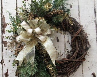 Ready to Ship - Gold Holiday Cresent Wreath with Crescent Gold Eucalyptus, pine cones, Gold Cedar and Gold Sheer bow