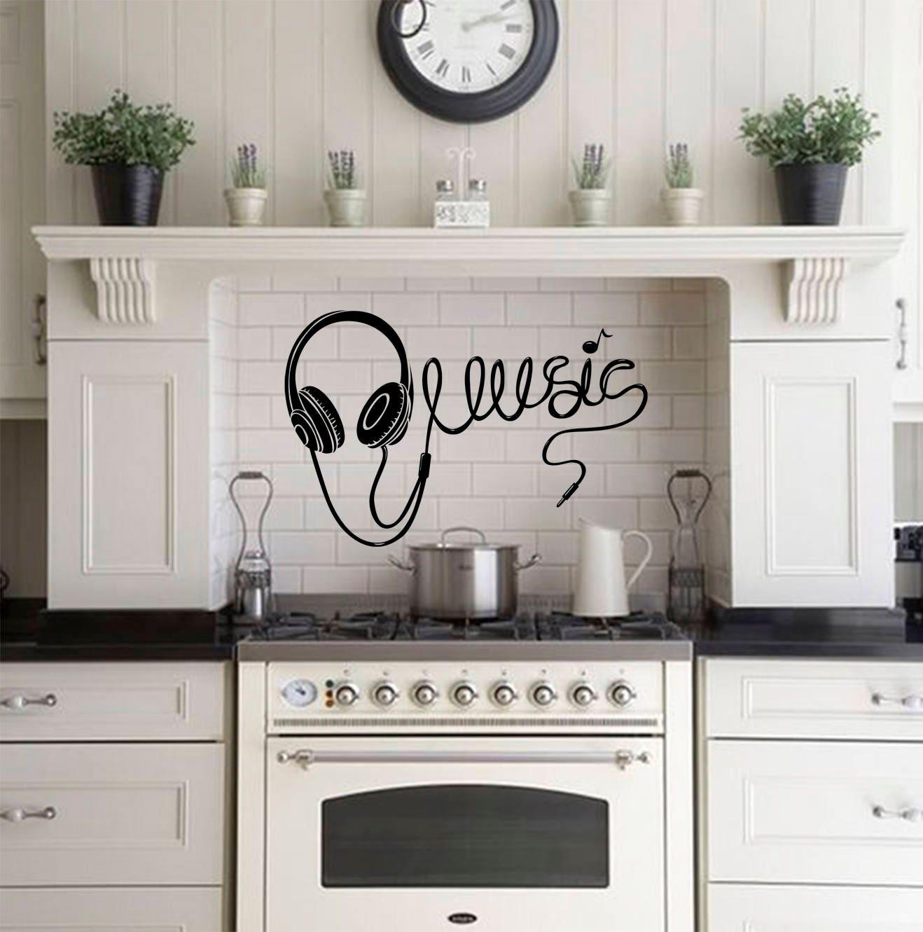 Music wall decals-Headphones vinyl wall decals-Music vinyl decal ...