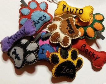 Paw or bone key ring-dog paw or cat-paw felt