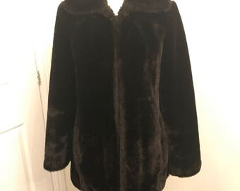 Snukoat brown faux fur coat size 8/10