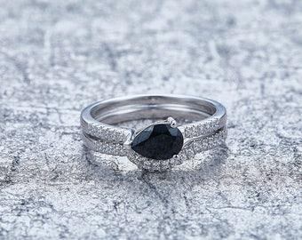 Schwarzer Diamant Spinell Ring (2er-set)