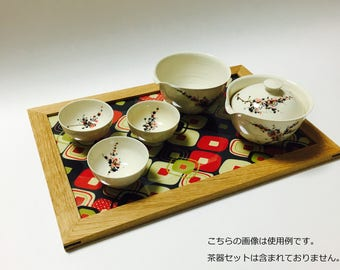 Wooden plate/Large/English cloth/Made in Japan/Kyoto/accessory/jewelry display/gift/mediocrity/trays/wooden/Japanese pattern/tray