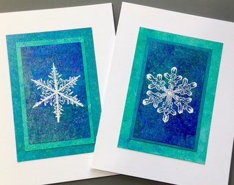 Snowflake embossed blank card, individually made from hand painted papers (set of 2): A2, SKU BLA21064