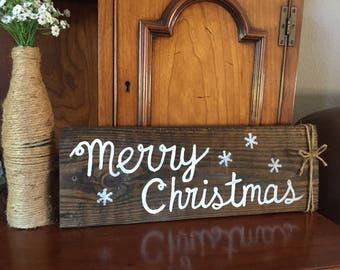 Merry Christmas wood sign, rustic Christmas sign