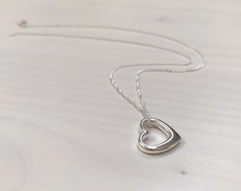 Solid sterling silver open heart pendant necklace with personalised initial heart extension