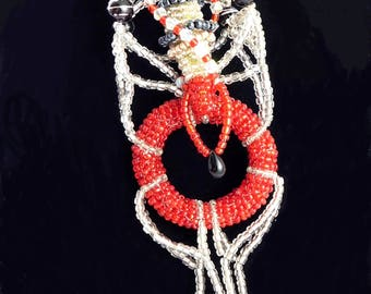 Silver and red choker artist made statement cocoon necklace