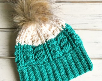 Two toned Cream and Green (Deep Sea) Cable Beanie with Faux Fur Pom
