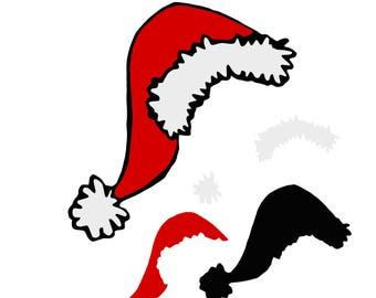 Christmas Santa Hat SVG Design Cutting File & includes PNG - for Cricut Design Space and Silhouette Studio - Commercial use