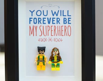 Wolverine, Lego, Superhero, gift, daddy, gift for him, lego minifigures, for valentine, father's day, anniversary, birthday inspired by LEGO