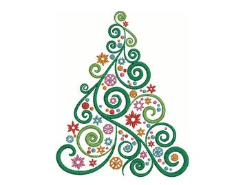 kitchen embroidery designs. Swirl Christmas Tree Embroidery Design  3 Sizes Multiple formats Kitchen embroidery Etsy