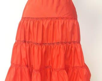 Vintage 1950s red full skirt slip pinup under garment womens size Large