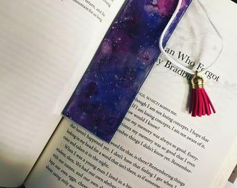 Galaxy hand painted laminated bookmark