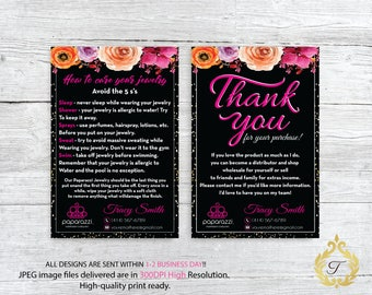 Paparazzi Care Instruction Card, Paparazzi Thank You Card, Personalized Paparazzi Card, Paparazzi Marketing Card, Digital file PP04