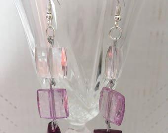 Clear, pink, purple square bead earrings