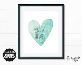 Wild At Heart Printable Art, Boho watercolor Nursery wall art girls boys kids room poster digital print download