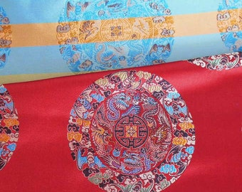 Discount Chinese brocade satin fabric material lucky symbol on red embroidered by the 0.5 YARDS, Yards Meters cbs 909