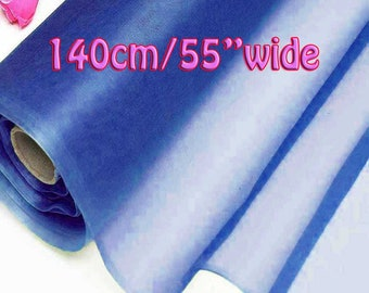 140cm Wide Princess Blue 100% Real Mulberry Silk Organza Fabric Natural Silk Material (QI Za 20027W X Yards / Meters) Light Weight