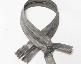 """Silver Grey Gray 16"""" inches 40cm invisible nylon hidden zipper zips zip close end for closure (yinsin- zip-16in-012)"""