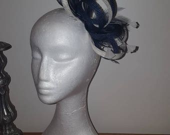 Navy and cream/ivory fascinator