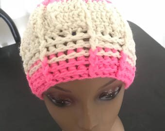 Pink & Beige Sunray Beanie