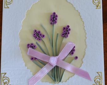 Lavender bunch handmade quilled card