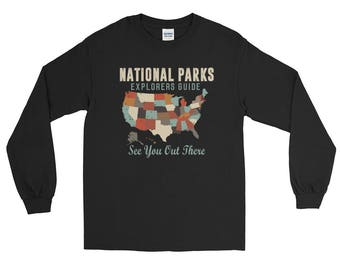 Vintage Map of US National Parks Long Sleeve T-Shirt