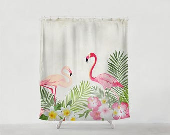 Flamingo and Tropical flowers shower curtain - Bathroom art  - Bohemian - Home decor - Bathroom Sets - Gift - Bath Mat - Art Bath -kids S#31