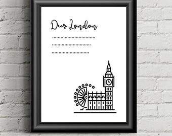 Dear London Print | Dear London | London Print | London Wall Art | London Wall Decor | London Printable | Big Ben Poster | Big Ben Print
