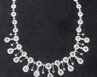 80000 GAL Certified Magnificent 18KT White Gold Rose Cut Diamond Necklace