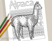 Alpaca. Coloring. Coloring Page. Coloring Pages for Kids and Adults. Adult Coloring Pages. Printables. Instant Download.