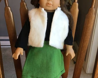 """Fur vest with t-shirt and skirt fit 18"""" dolls such as American girl"""