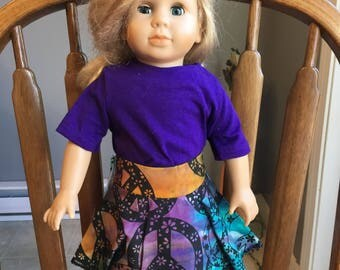 "T-shirt with skirt fit 18"" dolls such as American girl"