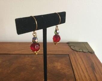 Genuine Ruby, Drop  Earrings, gift , olivine crystal