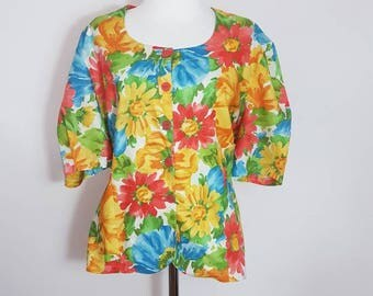 French Blouse /  Floral Shirtwaist Blouse / 100 % Cotton / Size AU10 / Perfect for summer / Paired it with jeans! / Peasant Blouse
