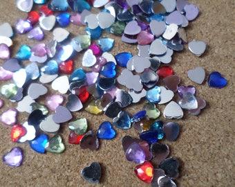 6mm heart rhinestones, Heart rhinestones, Acrylic heart rhinestones, Acrylic rhinestones, Rhinestones, Hearts, Heart, Mixed colour