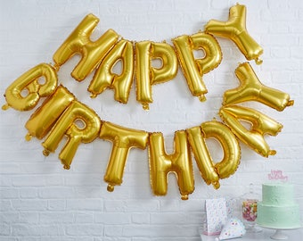 """Happy Birthday Gold Balloon Bunting - 12"""" Foil-Party supplies-Gold balloons-Happy Birthday"""