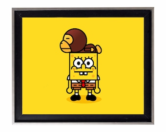 Bape Baby Milo x Spongebob Poster or Art Print (a bathing ape)