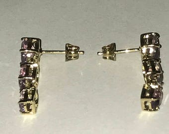 Womens 18k yellow gold over sterling silver 3.9 CTW Amethyst earrings