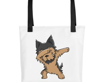 Funny Dabbing Yorkshire Terrier Tote bag, Cute Yorkie Dog bag