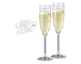 "2 Leonardo champagne glasses with personalized engraving ""Two Souls One Heart"" bride/Groom with name and date engraved wedding gift"