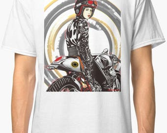 Inished Productions Manga inspired classic retro bespoke urban Motorcycle art T-Shirt Melimoto